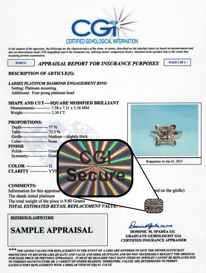 CGI Secure Sample Jewelry Appraisal